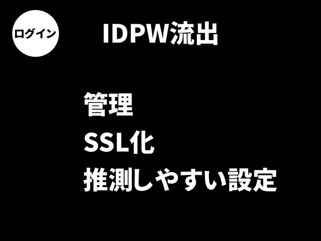 ログイン IDPW流出 管理 SSL化 推測しやすい設定