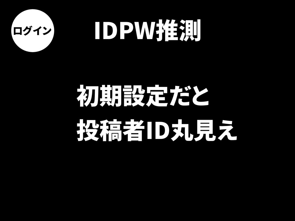 ログイン IDPW推測 初期設定だと 投稿者ID丸見え