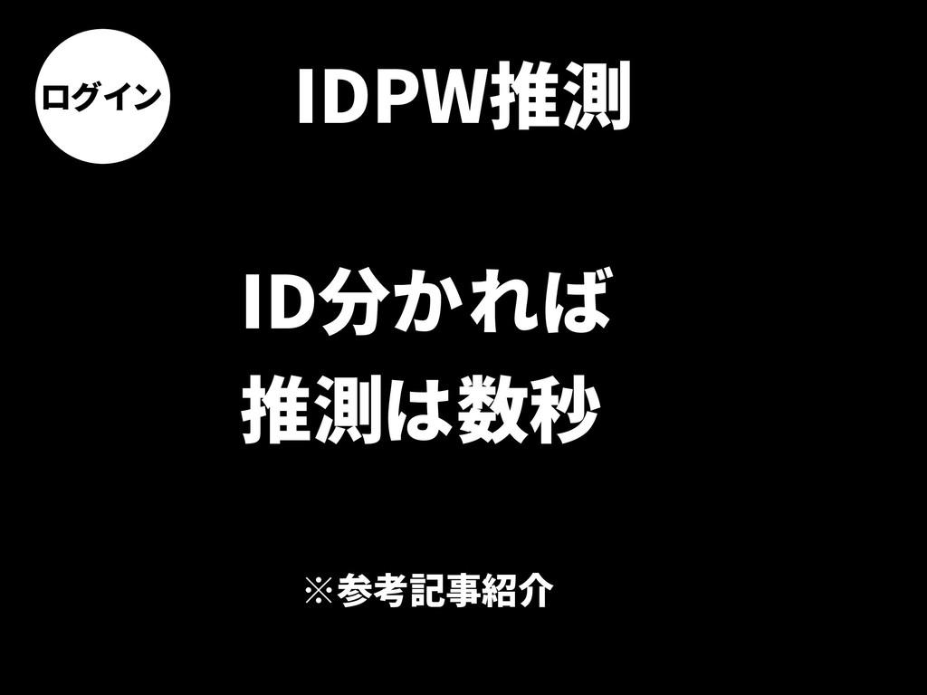 ログイン IDPW推測 ID分かれば 推測は数秒 ※参考記事紹介