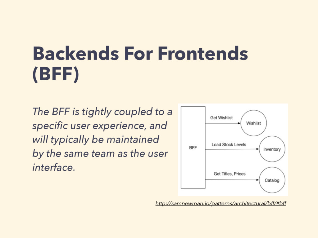 Backends For Frontends (BFF) The BFF is tightly...