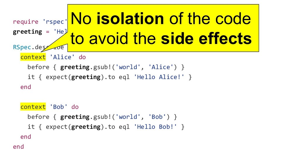 require 'rspec' greeting = 'Hello world!' RSpec...