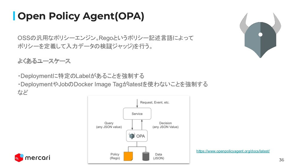 36 Open Policy Agent(OPA) OSSの汎用なポリシーエンジン。Regoと...
