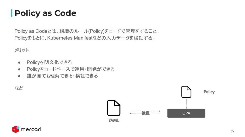 37 Policy as Codeとは、組織のルール(Policy)をコードで管理をすること。...