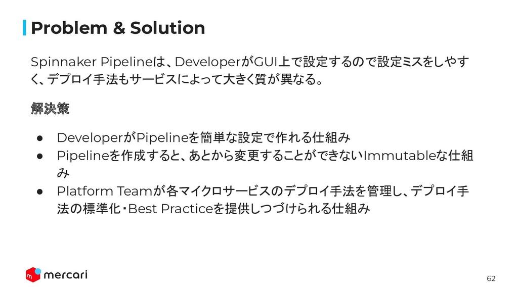 62 Problem & Solution Spinnaker Pipelineは、Devel...