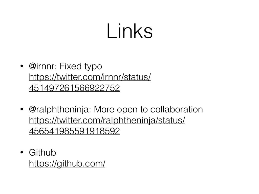 Links • @irnnr: Fixed typo  https://twitter.co...