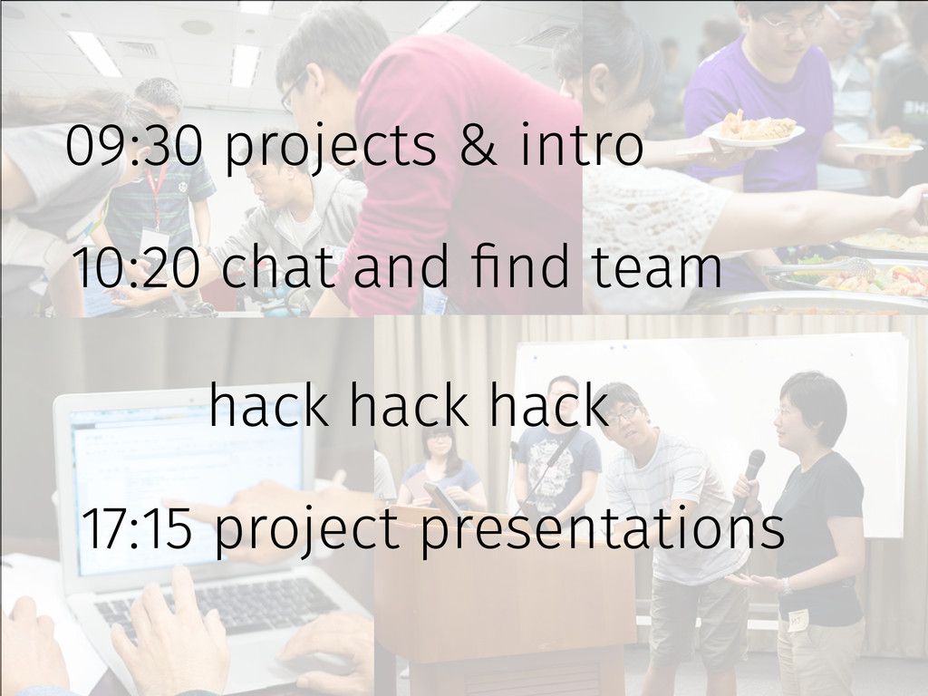 09:30 projects & intro 10:20 chat and find team...