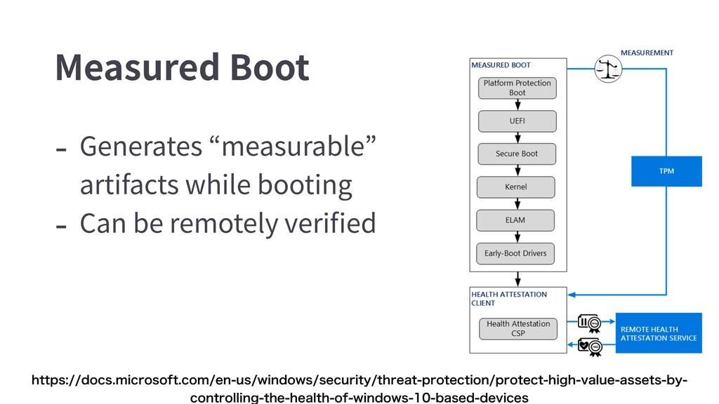 "Measured Boot - Generates ""measurable"" artifact..."