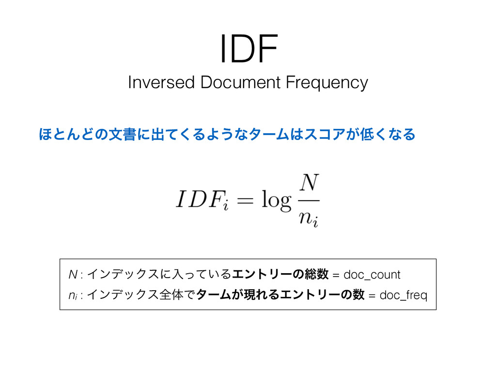 IDF Inversed Document Frequency ΄ͱΜͲͷจॻʹग़ͯ͘ΔΑ͏ͳ...