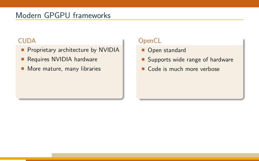Modern GPGPU frameworks CUDA Proprietary archit...