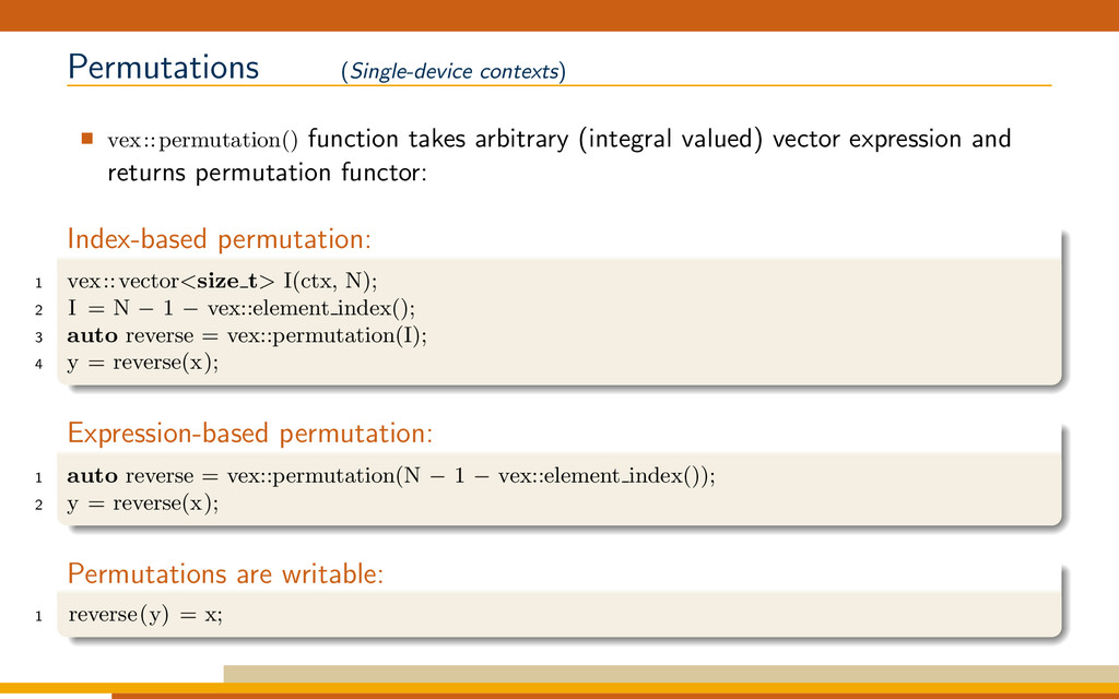 Permutations (Single-device contexts) vex::perm...