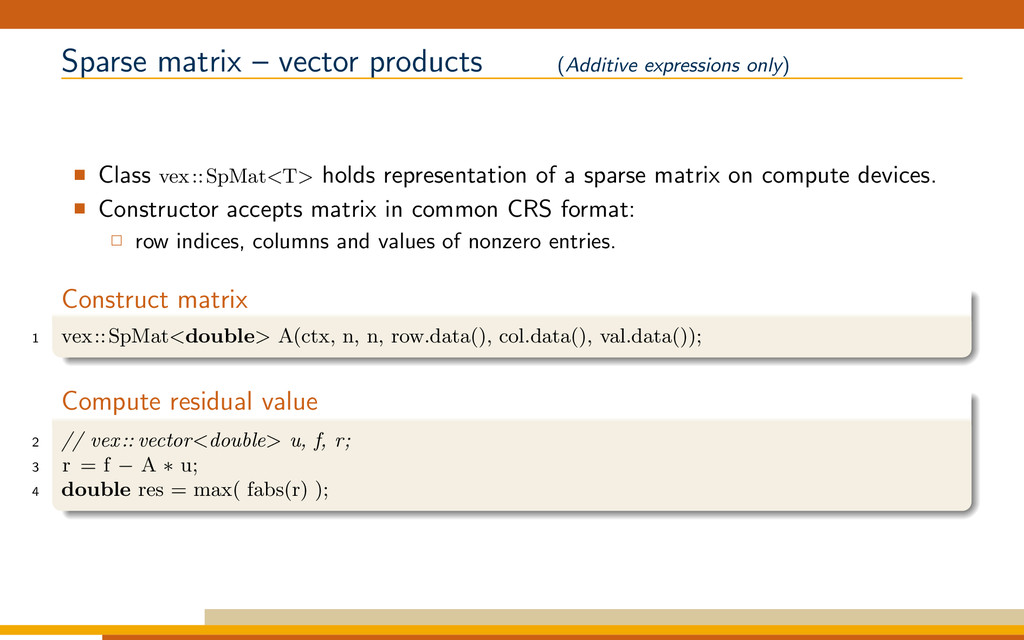 Sparse matrix – vector products (Additive expre...