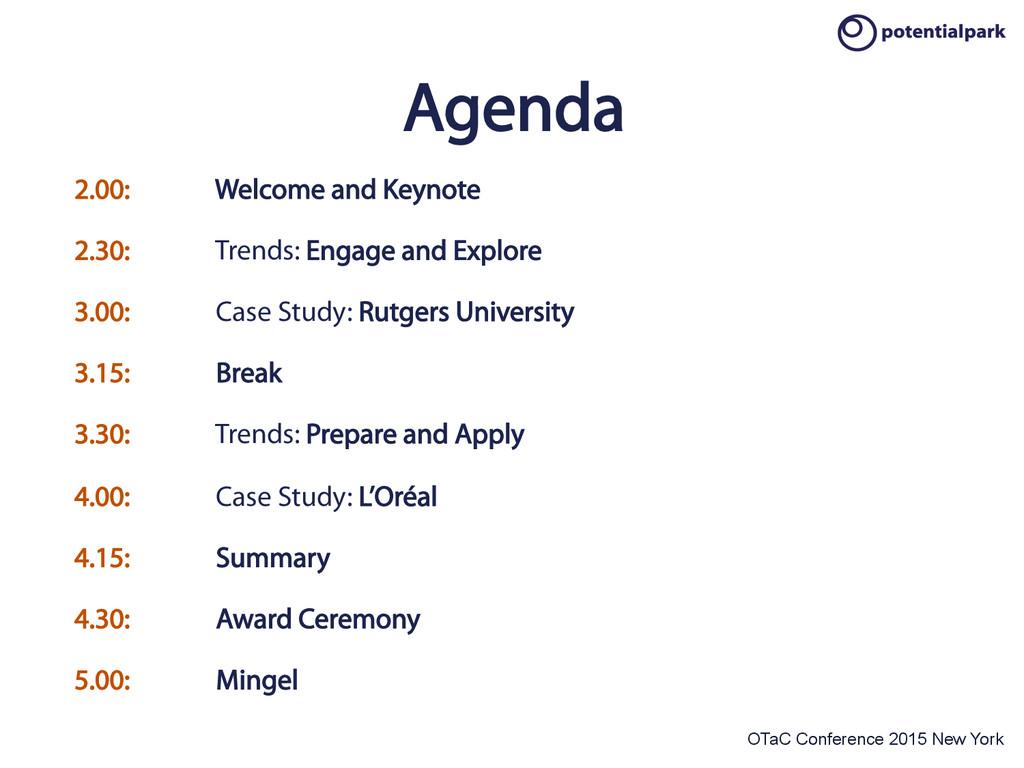OTaC Conference 2015 New York Agenda 2.00: Welc...