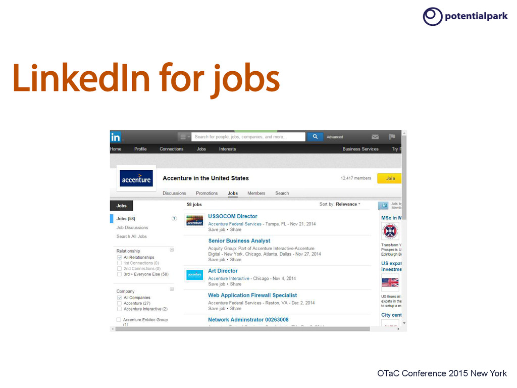 OTaC Conference 2015 New York LinkedIn for jobs