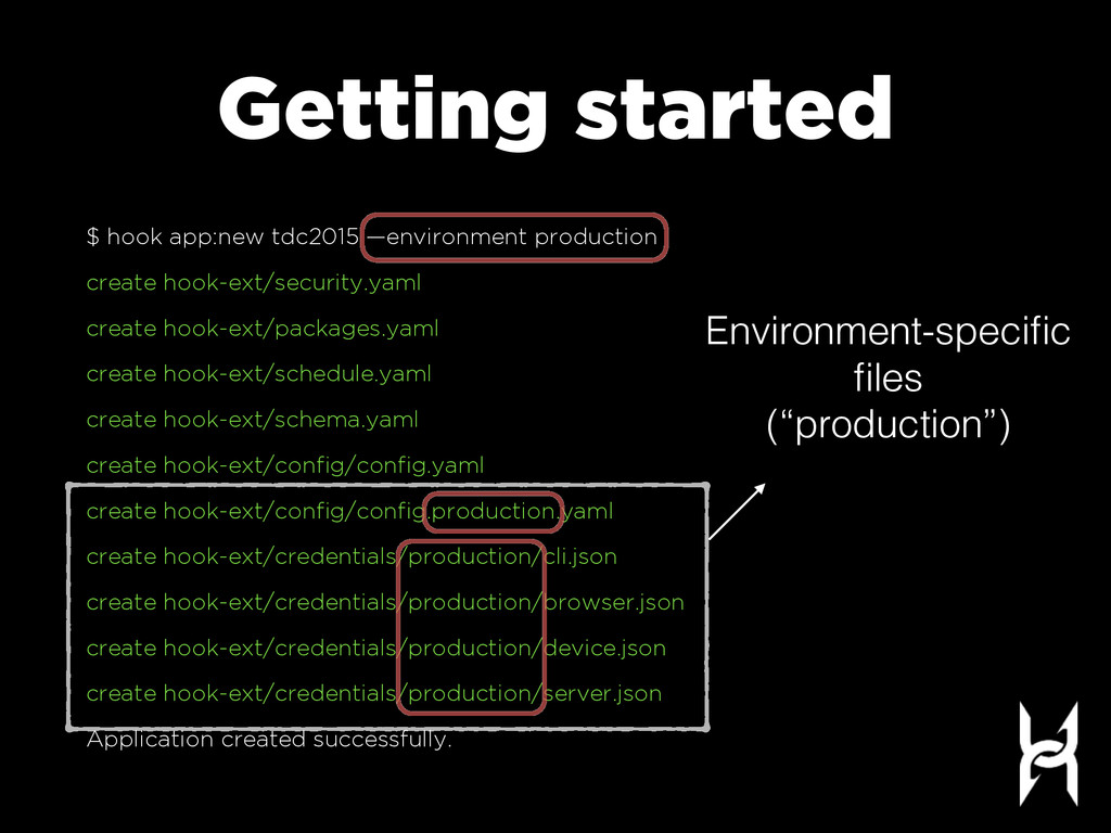Getting started $ hook app:new tdc2015 —environ...
