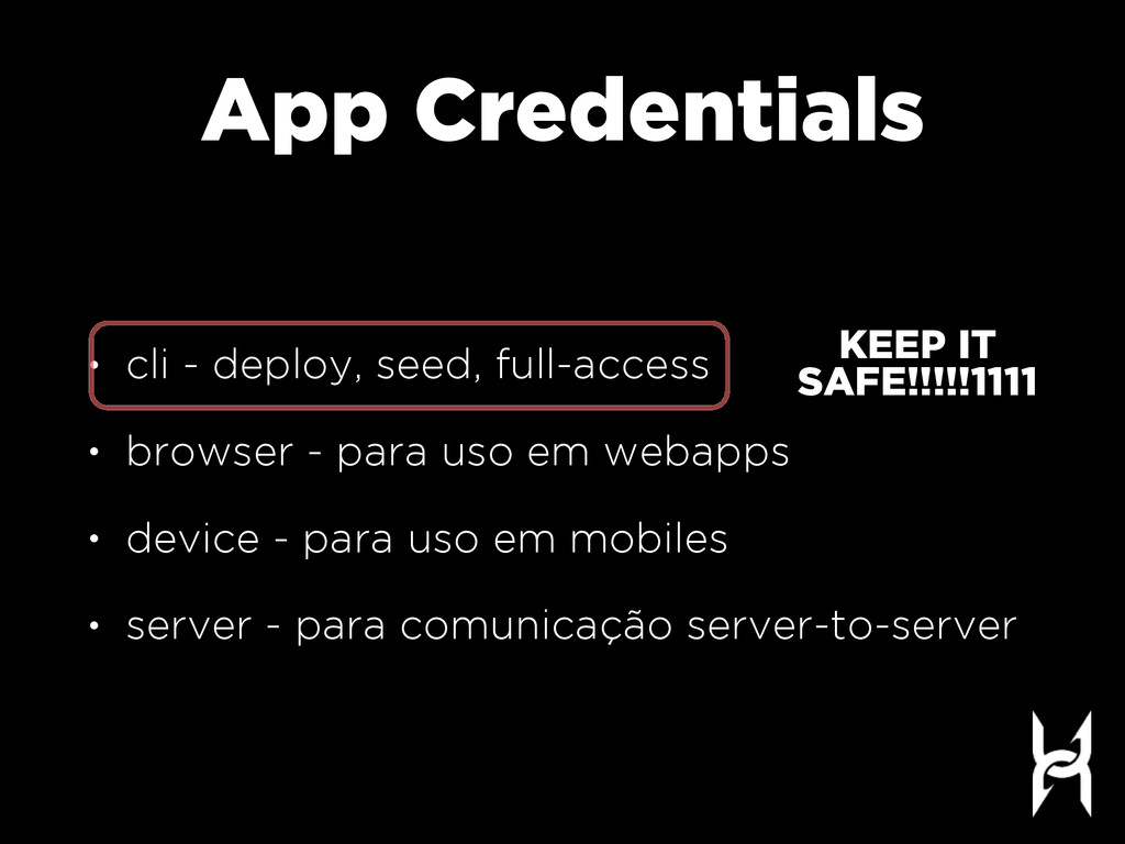 App Credentials • cli - deploy, seed, full-acce...
