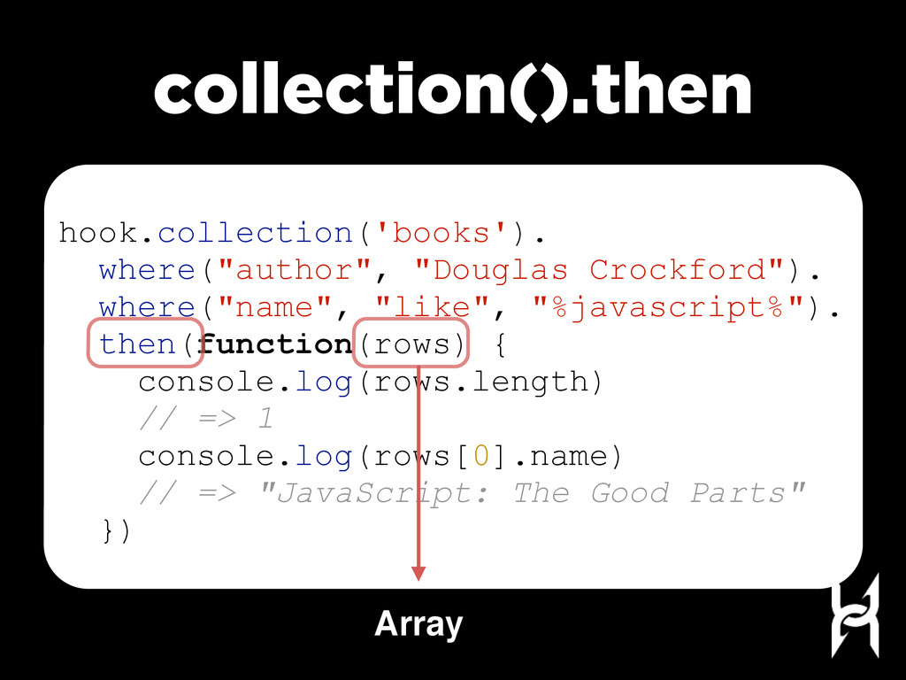 collection().then hook.collection('books'). whe...