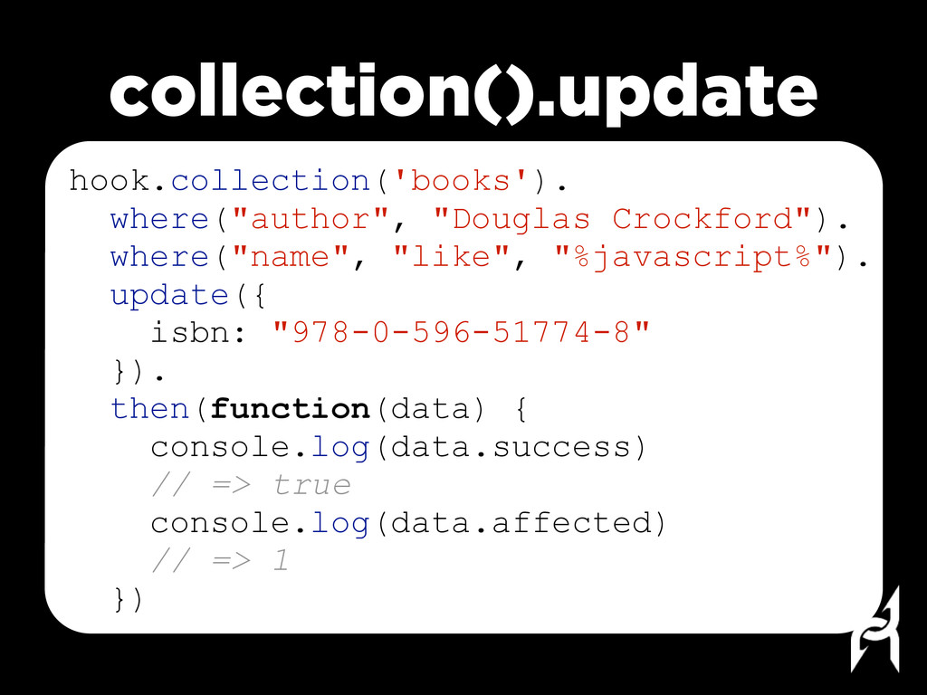 collection().update hook.collection('books'). w...