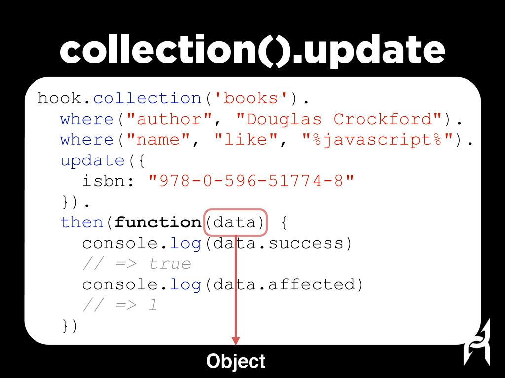 """hook.collection('books'). where(""""author"""", """"Doug..."""