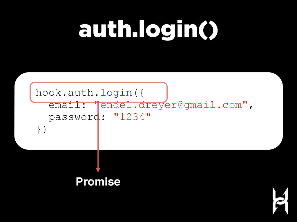 """auth.login() Promise hook.auth.login({ email: """"..."""