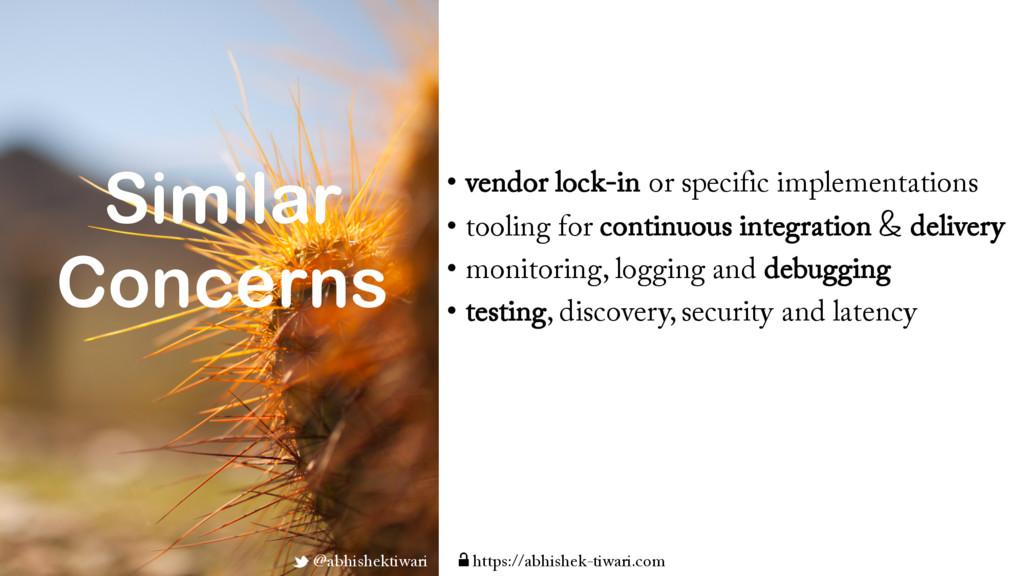 Similar Concerns • vendor lock-in or specific i...