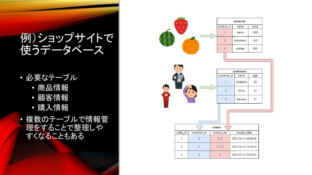 例)ショップサイトで 使うデータベース • 必要なテーブル • 商品情報 • 顧客情報 • 購...
