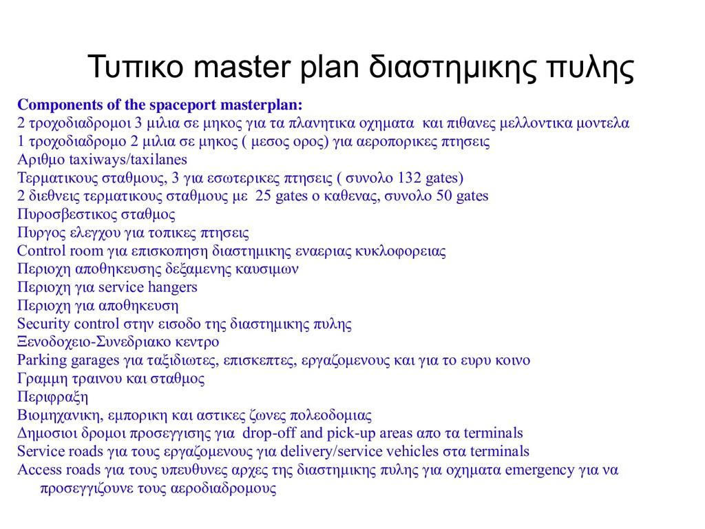 Τυπικο master plan διαστημικης πυλης Components...
