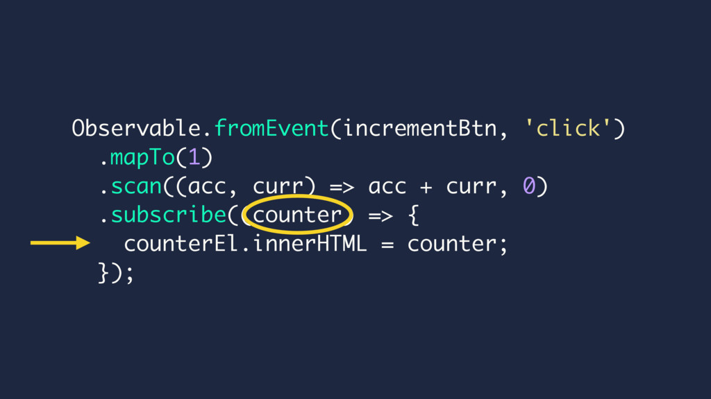 Observable.fromEvent(incrementBtn, 'click') .ma...