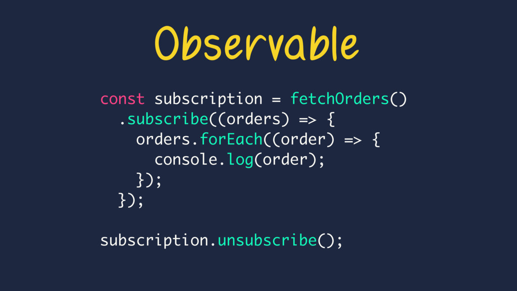Observable const subscription = fetchOrders() ....