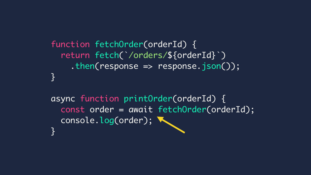 function fetchOrder(orderId) { return fetch(`/o...
