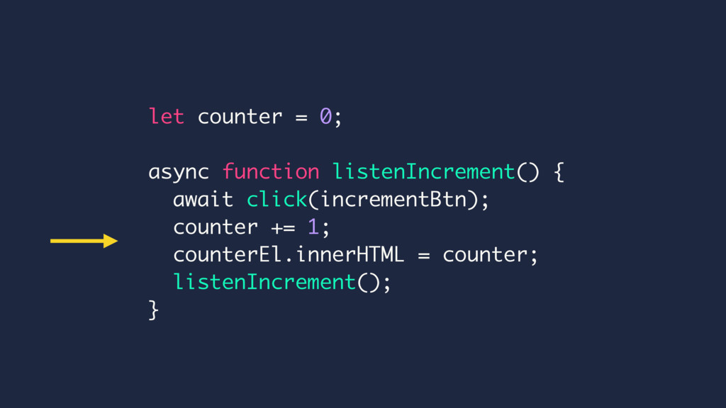 let counter = 0; async function listenIncrement...
