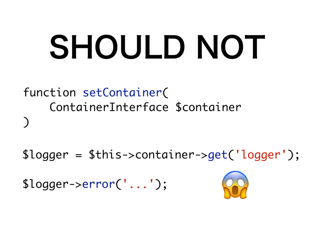 $logger = $this->container->get('logger'); $log...