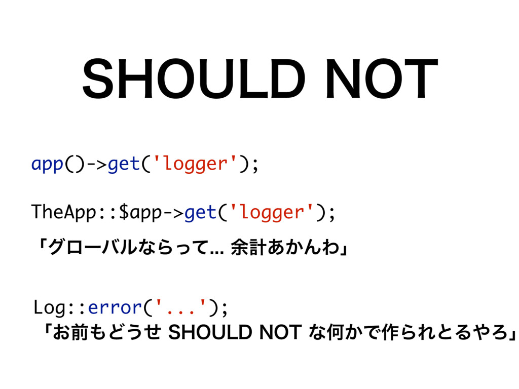 4)06-%/05 app()->get('logger'); TheApp::$app->...