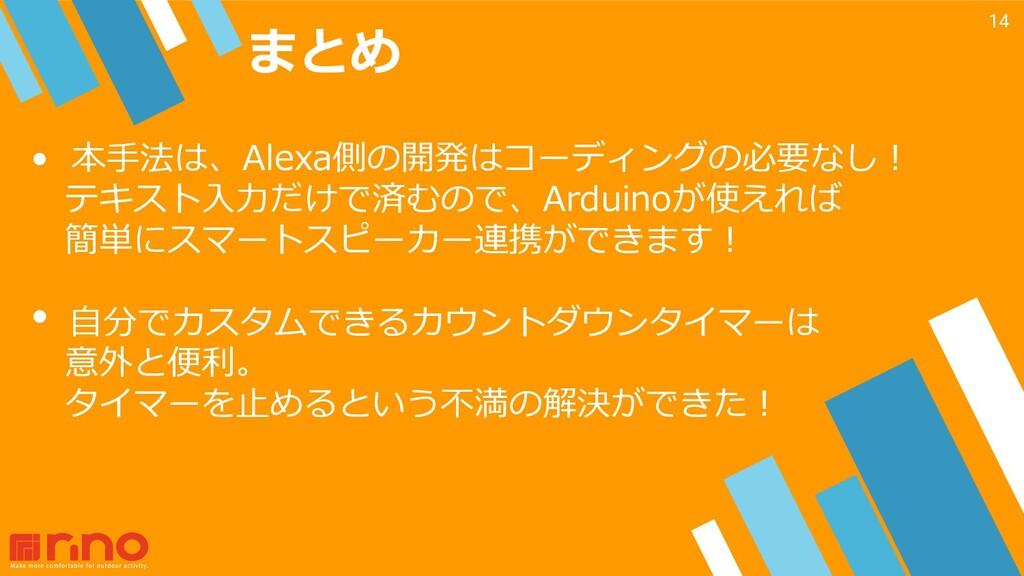 まとめ 14 • 本⼿法は、Alexa側の開発はコーディングの必要なし︕ テキスト⼊⼒だけで済...