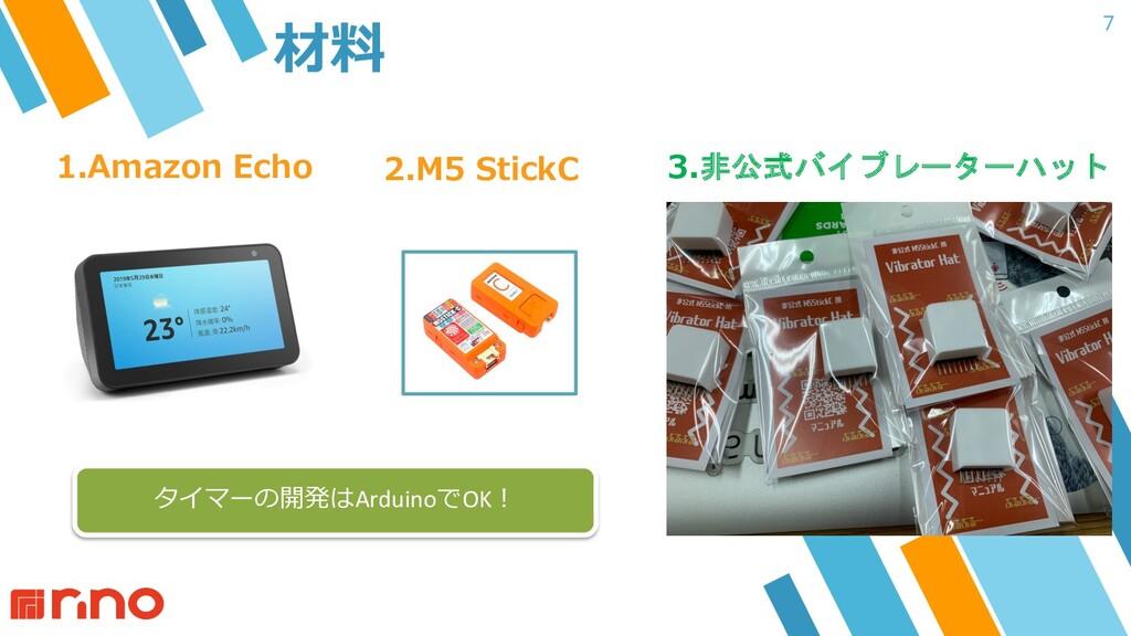 7 材料 1.Amazon Echo 2.M5 StickC 3.非公式バイブレーターハット ...