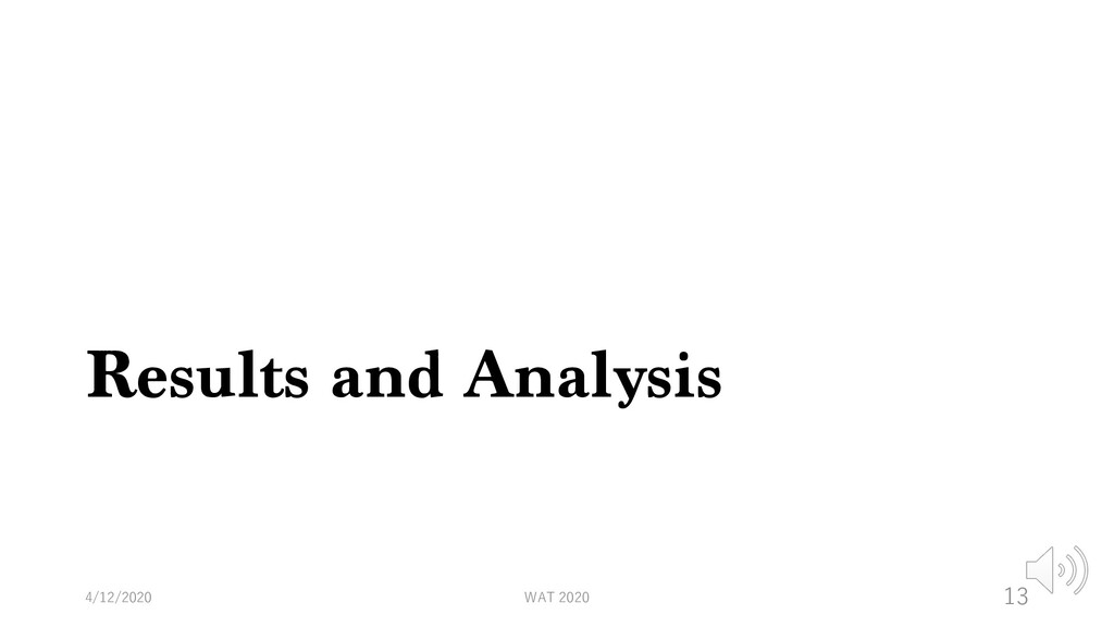 Results and Analysis 4/12/2020 WAT 2020 13