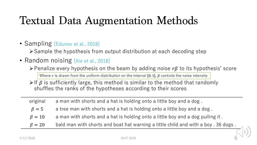 Textual Data Augmentation Methods • Sampling [E...