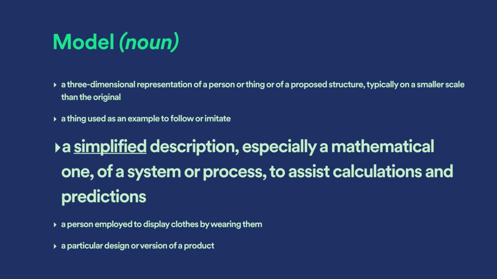 Model (noun) ‣ a three-dimensional representati...