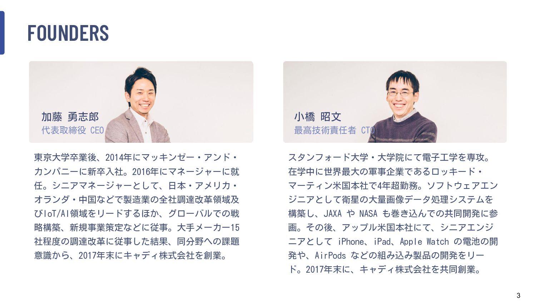 3 FOUNDERS 東京大学卒業後、2014年にマッキンゼー・アンド・ カンパニーに新卒入社...