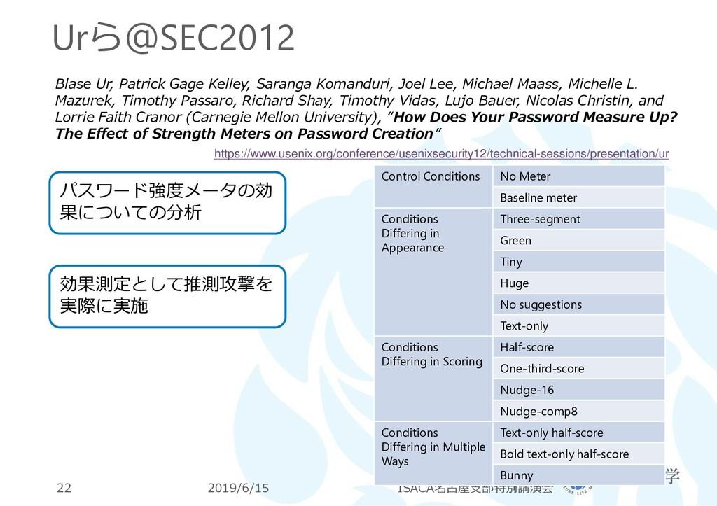 Urら@SEC2012 2019/6/15 ISACA名古屋支部特別講演会 22 Blase ...