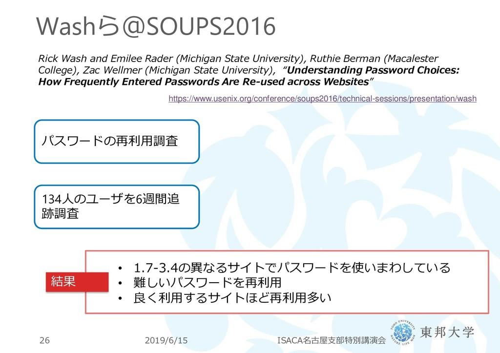 Washら@SOUPS2016 2019/6/15 ISACA名古屋支部特別講演会 26 Ri...