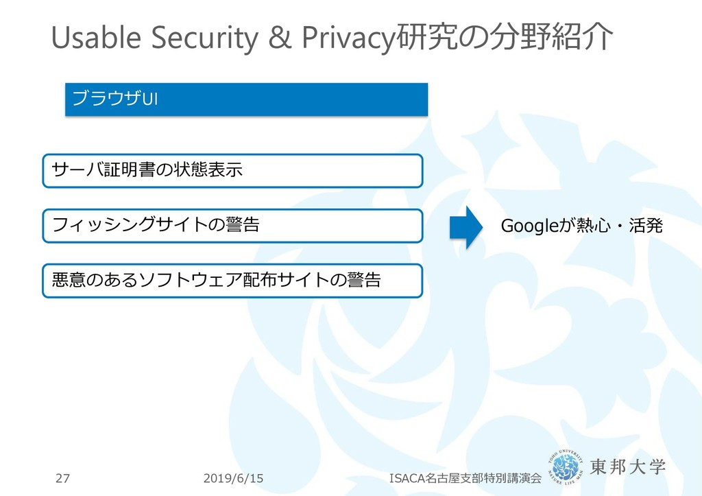 Usable Security & Privacy研究の分野紹介 2019/6/15 ISAC...