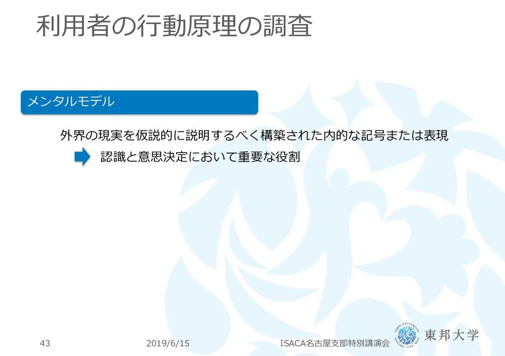 利用者の行動原理の調査 2019/6/15 ISACA名古屋支部特別講演会 43 メンタルモデ...