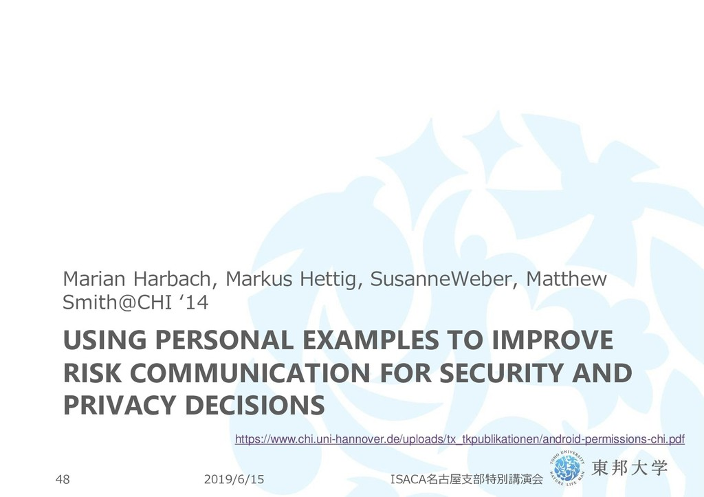 USING PERSONAL EXAMPLES TO IMPROVE RISK COMMUNI...