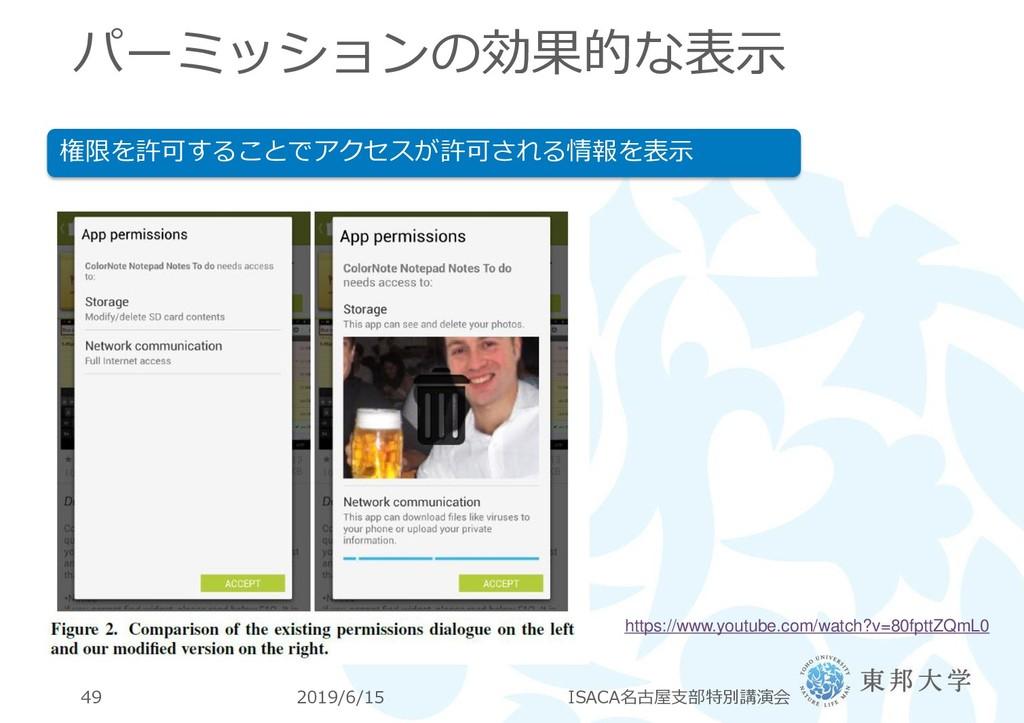 パーミッションの効果的な表示 2019/6/15 ISACA名古屋支部特別講演会 49 権限を...