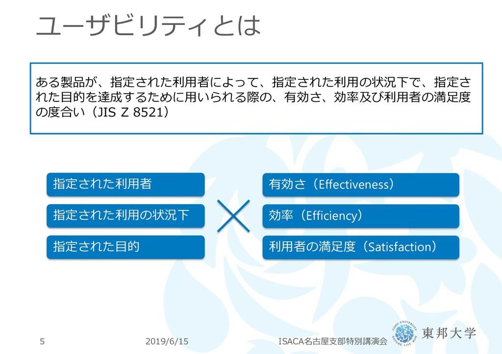 ユーザビリティとは 2019/6/15 ISACA名古屋支部特別講演会 5 ある製品が、指定さ...