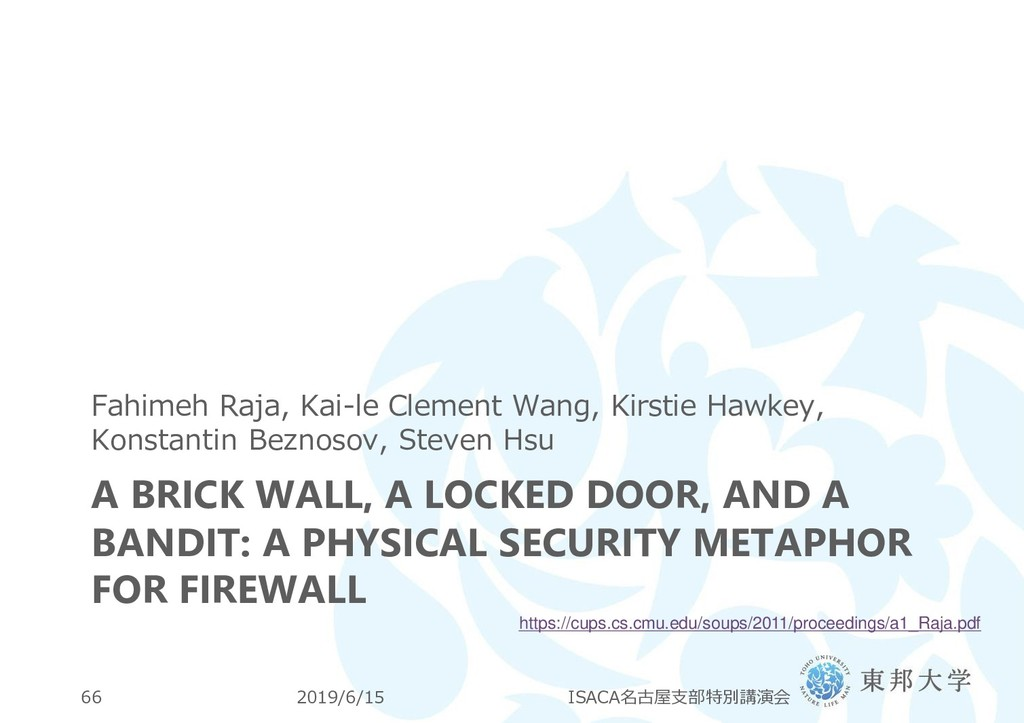 A BRICK WALL, A LOCKED DOOR, AND A BANDIT: A PH...