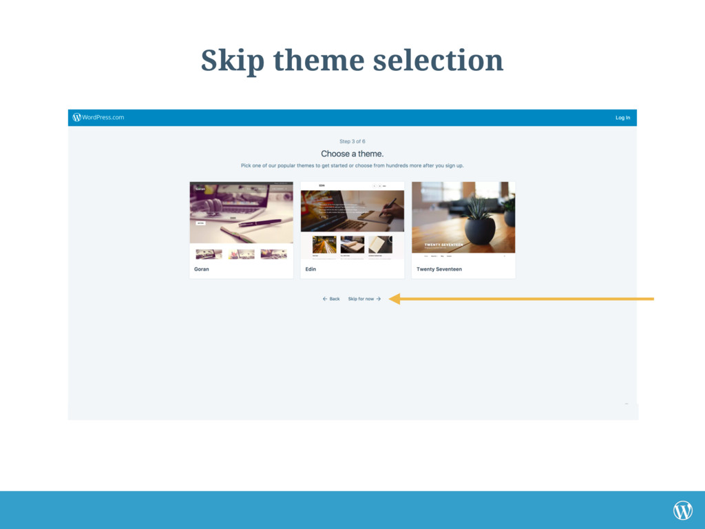 Skip theme selection