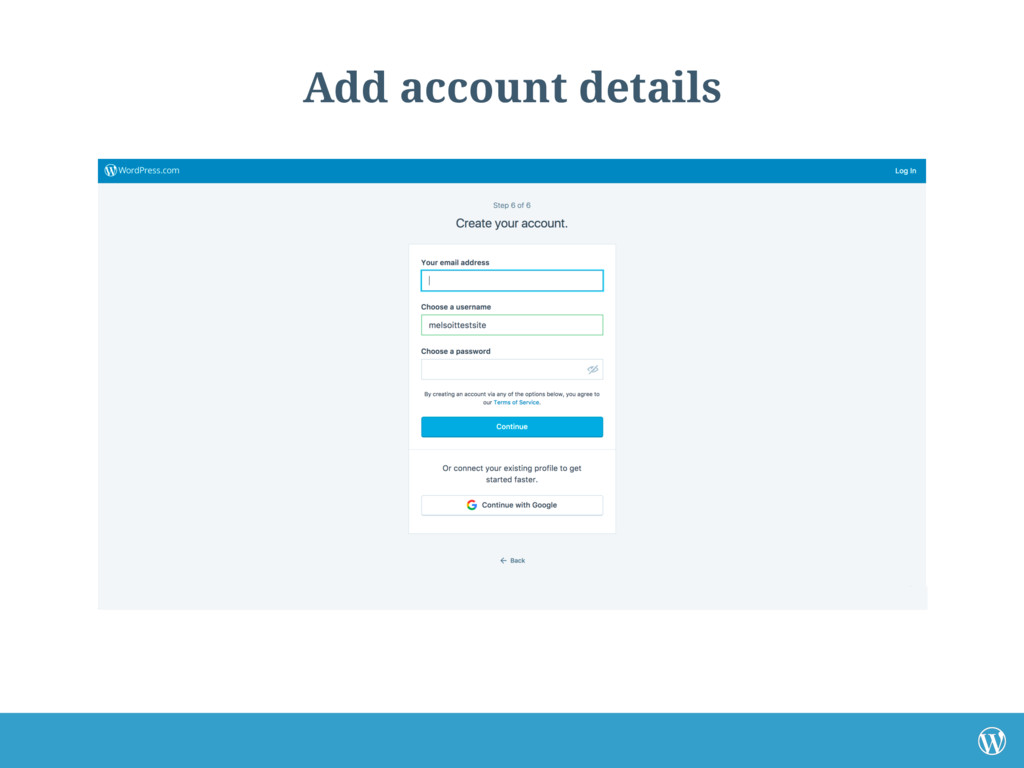 Add account details