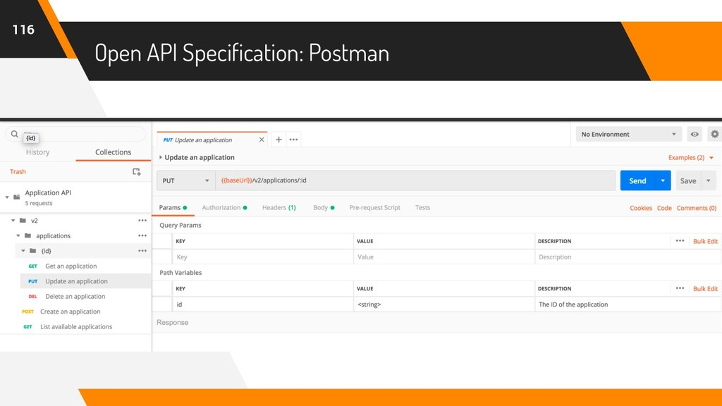 Open API Specification: Postman 116