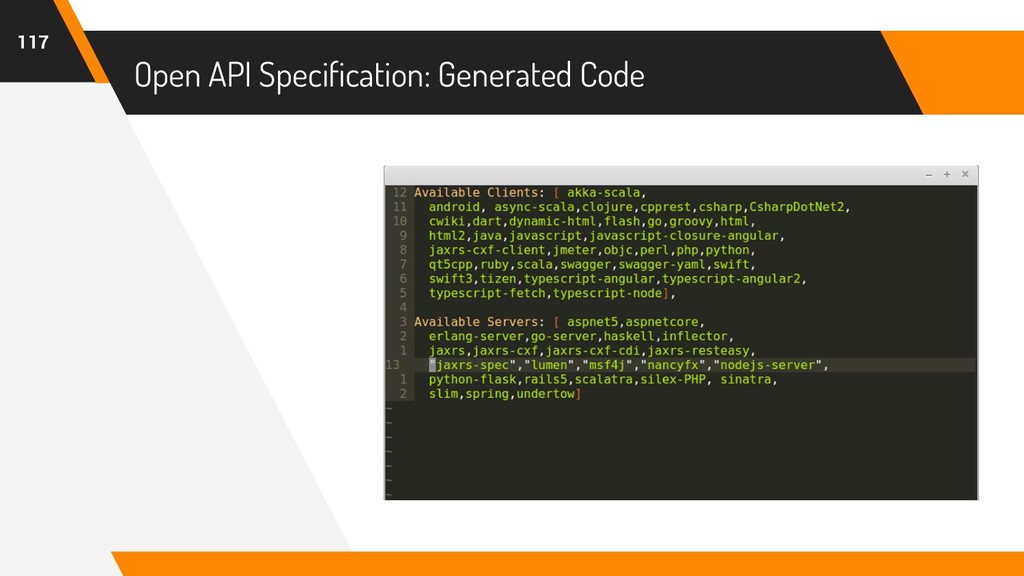 Open API Specification: Generated Code 117